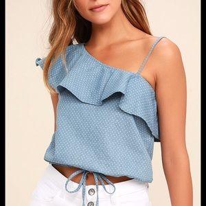 Lulu's • JOA One Shoulder Polka Dot Crop Top